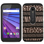 Hybrid Multi-Layer Armor Case for Motorola Moto G 3rd Generation - Leopard Zebra