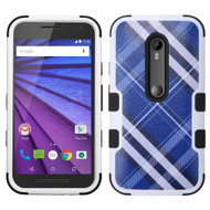 Military Grade Certified TUFF Image Hybrid Armor Case for Motorola Moto G 3rd Generation - Plaid Blue