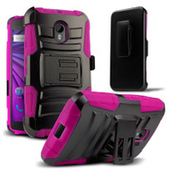 *SALE* Advanced Armor Hybrid Kickstand Case with Holster for Motorola Moto G 3rd Generation - Black Hot Pink