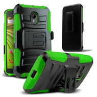 *SALE* Advanced Armor Hybrid Kickstand Case with Holster for Motorola Moto G 3rd Generation - Black Green