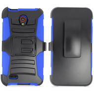 *Sale* Advanced Armor Hybrid Kickstand Case with Holster for Alcatel OneTouch Conquest - Black Blue