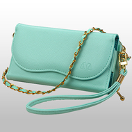 Posh Crossbody Leather Wallet Wristlet Bag - Light Green
