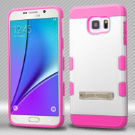 Military Grade Certified TUFF Trooper Hybrid Case for Samsung Galaxy Note 5 - White Hot Pink