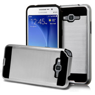 Brushed Hybrid Armor Case for Samsung Galaxy Grand Prime - Silver