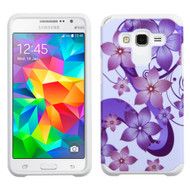 Hybrid Multi-Layer Armor Case for Samsung Galaxy Grand Prime - Hibiscus Flower Romance Purple