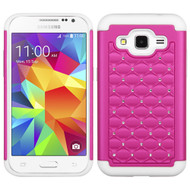 TotalDefense Diamond Hybrid Case for Samsung Galaxy Core Prime / Prevail LTE - Hot Pink White