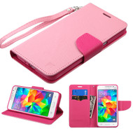 Leather Wallet Shell Case for Samsung Galaxy Grand Prime - Pink