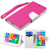 Leather Wallet Shell Case for Samsung Galaxy Grand Prime - Hot Pink
