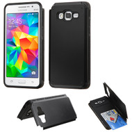 Credit Card Hybrid Kickstand Case for Samsung Galaxy Grand Prime - Black