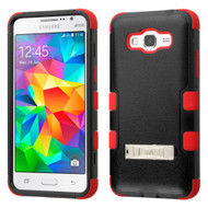Military Grade Certified TUFF Hybrid Kickstand Case for Samsung Galaxy Grand Prime - Black Red