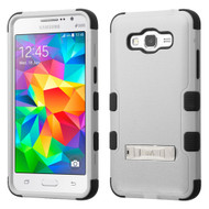 Military Grade Certified TUFF Hybrid Kickstand Case for Samsung Galaxy Grand Prime - Grey