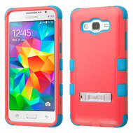 Military Grade Certified TUFF Hybrid Kickstand Case for Samsung Galaxy Grand Prime - Pink Teal