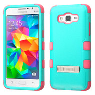 Military Grade Certified TUFF Hybrid Kickstand Case for Samsung Galaxy Grand Prime - Teal Hot Pink