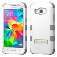 Military Grade Certified TUFF Hybrid Kickstand Case for Samsung Galaxy Grand Prime - White Grey