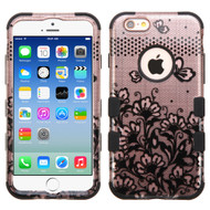 Military Grade Certified TUFF Image Hybrid Case for iPhone 6 / 6S - Lace Flowers Rose Gold