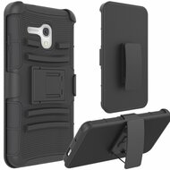 Advanced Armor Hybrid Kickstand Case with Holster for Alcatel OneTouch Fierce XL - Black
