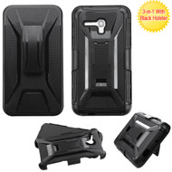*Sale* Tough Armor Hybrid Kickstand Case with Holster for Alcatel OneTouch Fierce XL - Black