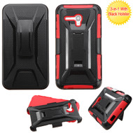 Tough Armor Hybrid Kickstand Case with Holster for Alcatel OneTouch Fierce XL - Black Red