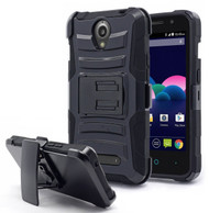 *Sale* Advanced Armor Hybrid Kickstand Case with Holster for ZTE Obsidian - Black