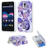 *CLEARANCE* Credit Card Hybrid Kickstand Case for ZTE Obsidian - Hibiscus Flower Romance Purple