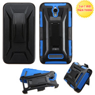 *Sale* Tough Armor Hybrid Kickstand Case with Holster for ZTE Obsidian - Black Blue