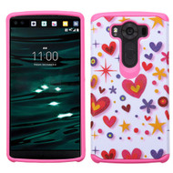 Hybrid Multi-Layer Armor Case for LG V10 - Heart Graffiti