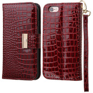 Crocodile Embossed Leather Wallet Case for iPhone 6 Plus / 6S Plus - Burgundy