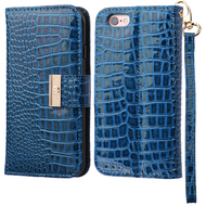 Crocodile Embossed Leather Wallet Case for iPhone 6 / 6S - Blue