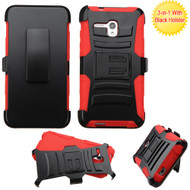 *CLEARANCE* Advanced Armor Hybrid Kickstand Case with Holster for Alcatel OneTouch Fierce XL - Black Red