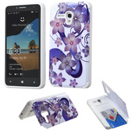 *Sale* Credit Card Hybrid Kickstand Case for Alcatel OneTouch Fierce XL - Hibiscus Flower Romance Purple
