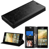 Book-Style Leather Folio Case for ZTE Warp Elite - Black