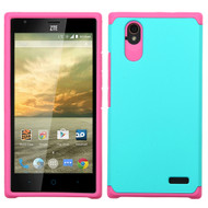 *Sale* Hybrid Multi-Layer Armor Case for ZTE Warp Elite - Teal Hot Pink