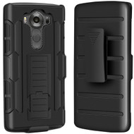 Robust Armor Stand Protector Cover with Holster for LG V10 - Black
