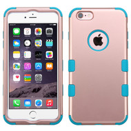 Military Grade Certified TUFF Hybrid Case for iPhone 6 Plus / 6S Plus - Rose Gold Teal