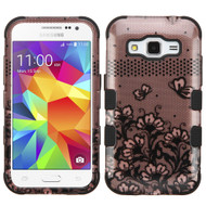 Military Grade Certified TUFF Image Hybrid Case for Samsung Galaxy Core Prime / Prevail LTE - Lace Flowers Rose Gold