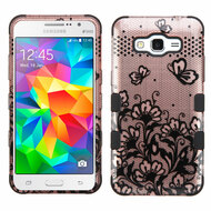 Military Grade TUFF Image Hybrid Case for Samsung Galaxy Grand Prime - Lace Flowers Rose Gold