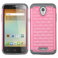 TotalDefense Diamond Hybrid Case for Alcatel OneTouch Elevate - Pearl Pink Grey