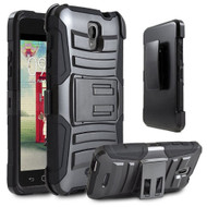 Advanced Armor Hybrid Kickstand Case with Holster for Alcatel OneTouch Elevate - Black