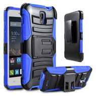 *SALE* Advanced Armor Hybrid Kickstand Case with Holster for Alcatel OneTouch Elevate - Black Blue