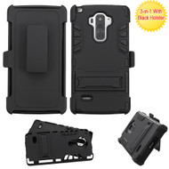 Dual Layer Hybrid Holster Armor Case with Kickstand and Belt Clip for LG G Stylo / Vista 2 - Black