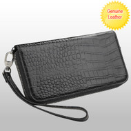 *SALE* Crocodile Embossed Genuine Leather Zippy Organizer Wallet Wristlet - Black