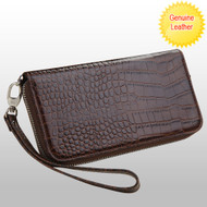 Crocodile Embossed Genuine Leather Zippy Organizer Wallet Wristlet - Brown