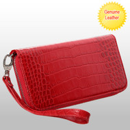 *SALE* Crocodile Embossed Genuine Leather Zippy Organizer Wallet Wristlet - Red