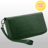 *SALE* Crocodile Embossed Genuine Leather Zippy Organizer Wallet Wristlet - Green