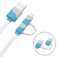 *SALE* Mybat 2-IN-1 Lightning and Micro USB Connector Charging & Sync Cable - Blue White