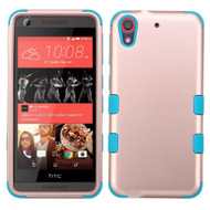 Military Grade Certified TUFF Hybrid Case for HTC Desire 650 / 626 / 555 / 550 / 530 - Rose Gold Teal