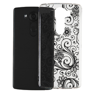 Floral Rubberized Crystal Case for LG V10 - Black