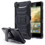 Advanced Armor Hybrid Kickstand Case with Holster for ZTE Warp Elite - Black