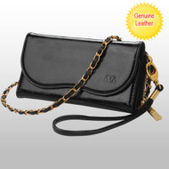Posh Crossbody Genuine Leather Wallet Wristlet Bag - Black