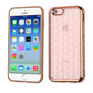 Honeycomb Electroplated Premium Candy Skin Cover for iPhone 6 / 6S - Gold